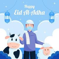 felice eid al adha celebrazione concetto vettore