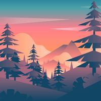 Vettore di vista della prima persona del paesaggio di tramonto della montagna