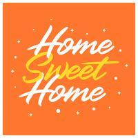 Arte di iscrizione della casa dolce casa piana con l'illustrazione disegnata a mano di vettore di stile