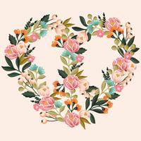 Vettore disegnato a mano pace e amore corona floreale