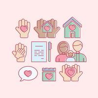 Set di icone di adozione