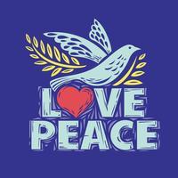 Colomba della pace e amore Lettering vettore