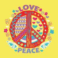 Amore e pace Doodle disegnato a mano e lettering vettore