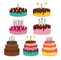 icona di torta di compleanno carino con candele vettore