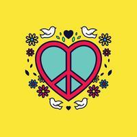 Pace e amore vettoriale