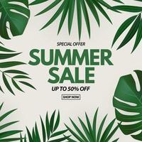 poster di saldi estivi. sfondo naturale con palme tropicali e foglie di monstera vettore