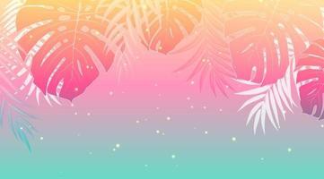 tramonto di progettazione di vacanze estive con foglie di palma vettore