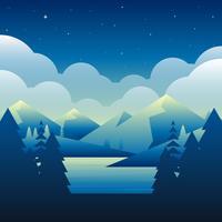 Notte sopra la montagna accanto all'illustrazione di vettore di Nature del lago Nature