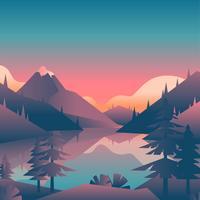 Vista della prima persona del paesaggio del tramonto del lago mountain vettore