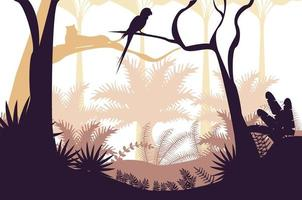 giungla natura selvaggia tramonto paesaggio con scena di pappagallo vettore