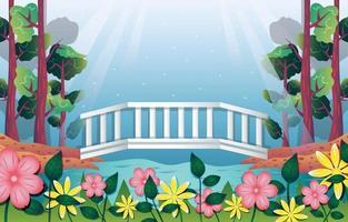 paesaggio naturale con modello di sfondo del ponte vettore