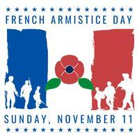 Francia Armistice Vintage Old Poster con bandiera francese colori card design