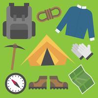 Progettazione piana dell'illustrazione di vettore dell'icona dei rifornimenti degli strumenti dell'oggetto di campeggio
