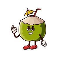 simpatico personaggio di cocco che fa il gesto giusto vettore
