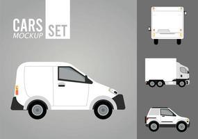 mini van bianco e set di icone di mockup di veicoli vettore