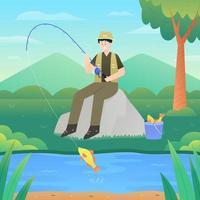 felice vacanza estiva di pesca vettore