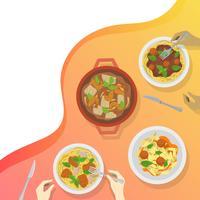 Gente piana che mangia al ristorante con l'illustrazione moderna di vettore del fondo di pendenza