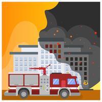 Flat Firefighter Car vettore