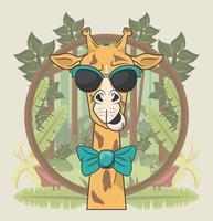 divertente giraffa con occhiali da sole stile cool vettore