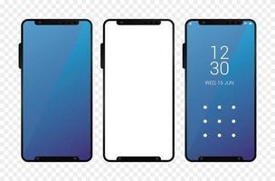 tre icone di dispositivi smartphone mockup vettore