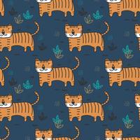 doodle tiger pattern vector