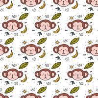 Scimmia Doodle Pattern Vector