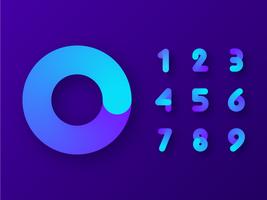 Numeri fluidi gradiente colorati vettore