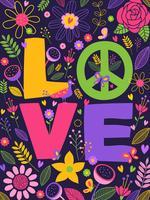 Illustrazione dell'iscrizione di vettore di amore e di pace