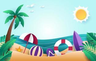 sfondo di carta spiaggia estiva vettore