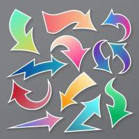 raccolta di elementi freccia colorata vettore