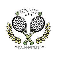 palline da tennis e scritte con linea di racchette e stile di riempimento vettore