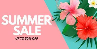 sfondo naturale di poster di vendita estiva con foglie di palma tropicale e fiori esotici vettore