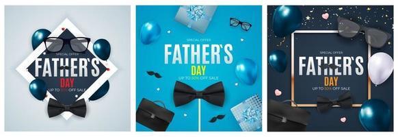 sfondo di vendita di festa del papà. poster, flyer o biglietto di auguri. vettore