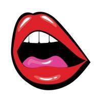 bocca pop art con lingua e denti riempiono lo stile vettore