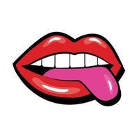 bocca pop art con stile di riempimento lingua fuori vettore