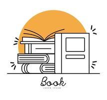 libri linea stile simbolo raccolta disegno vettoriale