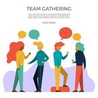Illustrazione piana di vettore delle feste e dei raduni degli uffici
