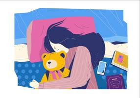 Sonno comodo nell'illustrazione piana di vettore della camera da letto accogliente