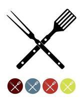 icona di barbecue con strumenti grill vettore