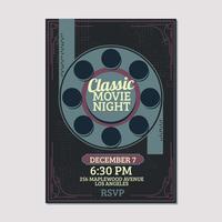 Modello di film classico notturno vettore