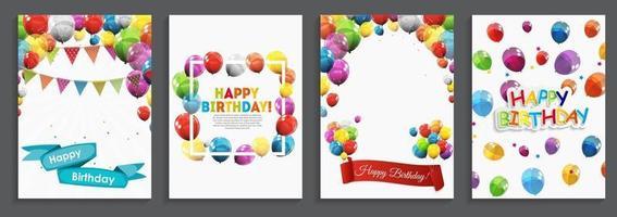 buon compleanno, auguri di vacanza e modello di carta di invito con palloncini e bandiere vettore