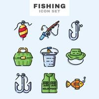 set di icone di pesca vettore