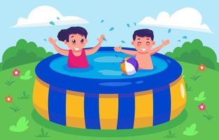 bambini che nuotano nella piscina gonfiabile vettore