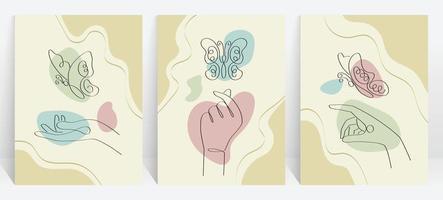 illustrazione estetica astratta impostata con elementi farfalla e mano, utilizzare uno stile di disegno a tratteggio vettore