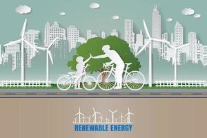carta pieghevole arte origami stile illustrazione vettoriale. verde energia rinnovabile ecologia tecnologia risparmio energetico concetti di amore rispettosi dell'ambiente. padre e figlio si danno la mano mentre pedalano nei parchi cittadini vettore
