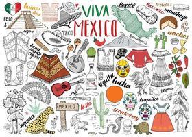 Messico schizzo disegnato a mano imposta illustrazione vettoriale lavagna