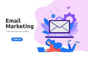 Design moderno e piatto per l'email marketing. Illustrazione vettoriale