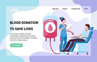 pagina di destinazione del donatore di sangue vettore