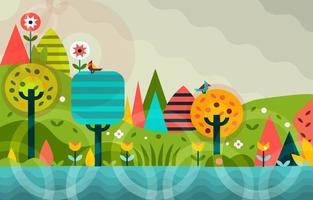 sfondo della composizione nella foresta tropicale vettore