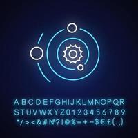 icona della luce al neon del sistema solare vettore